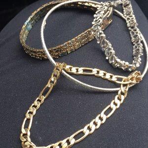 Five junky funky goth or boho bracelets in lot
